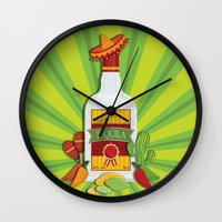 tequila Wall Clocks featuring Tequila Time by Matt Andrews