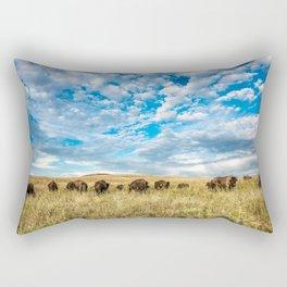 Grazing - Bison Graze Under Big Sky on Oklahoma Prairie Rectangular Pillow