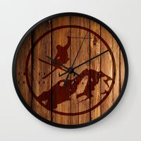 skiing Wall Clocks featuring skiing 3 by Paul Simms