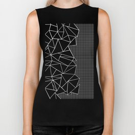 Abstract Grid Outline White on Black on Side Biker Tank