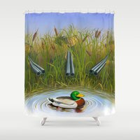 clueless Shower Curtains featuring Sitting Duck by Jay Montgomery