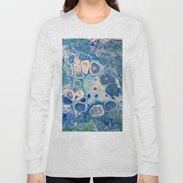 Blue Green Cells Fluid Pour Art Marble Swirls Stone Long Sleeve T-shirt
