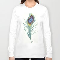 peacock feather Long Sleeve T-shirts featuring Peacock Feather by Paxelart