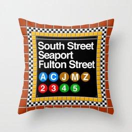 subway south street seaport sign Throw Pillow