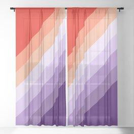 Retro diagonal stripes Sheer Curtain