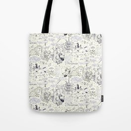 Chinoiserie pattern with dragons, bats, pagodas Tote Bag