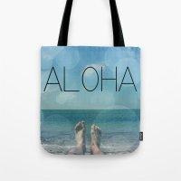 aloha Tote Bags featuring ALOHA by mark ashkenazi