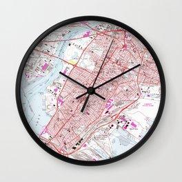 Vintage Map of Jersey City NJ (1967) Wall Clock