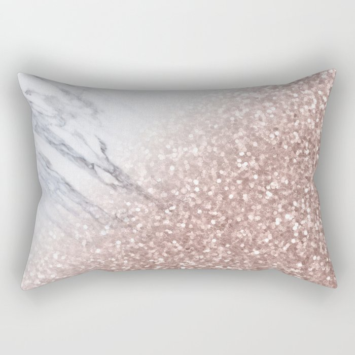 Blush Pink Sparkles on White and Gray Marble V Rectangular Pillow