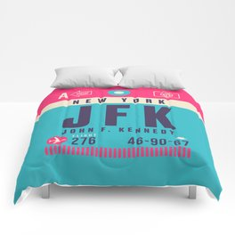 Retro Airline Luggage Tag - JFK New York Comforters