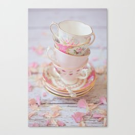 Shabby Chic Vintage Cups in Pink Canvas Print
