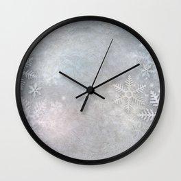 Snowflakes winter frozen freeze Wall Clock