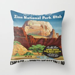 Vintage poster - Zion National Park Throw Pillow
