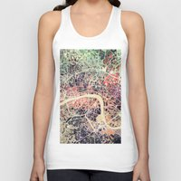 london map Tank Tops featuring London Mosaic Map #1 by Map Map Maps