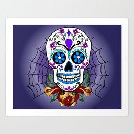Rose, the Day of the Dead Skull  Art Print