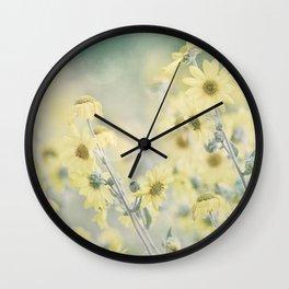 Pastel Wildflowers Yellow Helianthus Daisies -- Botanical Landscape Wall Clock