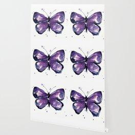 Purple Butterfly Watercolor Abstract Animal Art Wallpaper