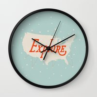 explore Wall Clocks featuring Explore by Landon Sheely