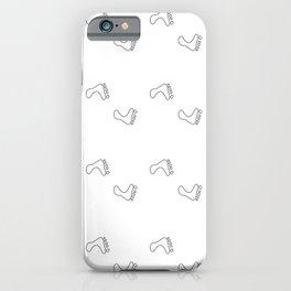 Walk On - Little Feet Pattern - White on White iPhone Case