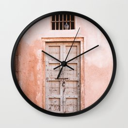 Pink Door with Pigeon in Jaipur, Rajasthan, India   Travel Photography   Wall Clock