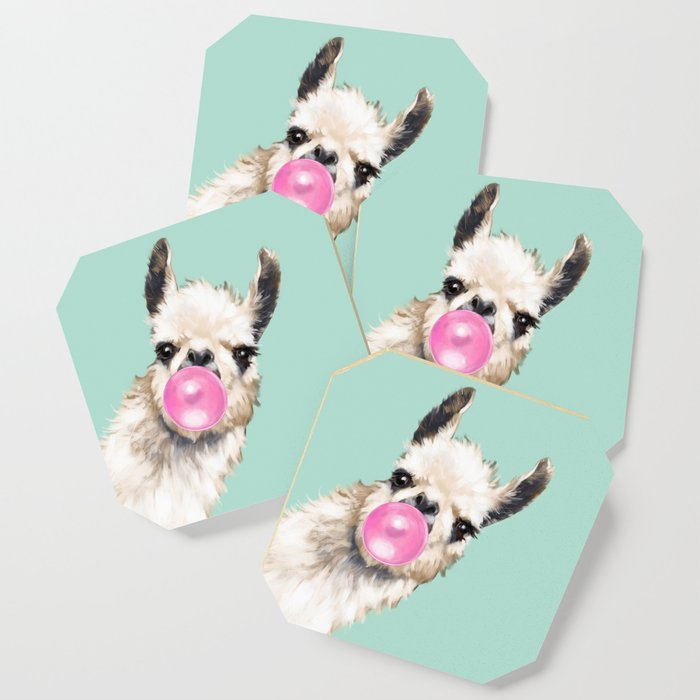 Bubble Gum Sneaky Llama in Green Coaster