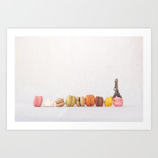 Paris, macarons and the eiffel tower Art Print