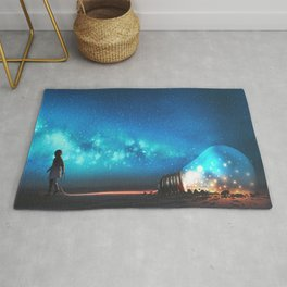 Fantasy Illustration Graphic Design Anime Japanese Inspired World Landscape 'Carrying My Thoughts' Rug