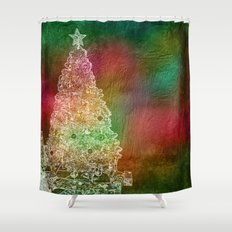 Christmas Tree on Vibrant textured background Shower Curtain