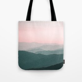 Dreamy mountains and pink sky. Tote Bag