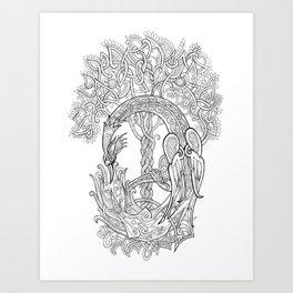 The Phoenix Bird and the Tree of Life Art Print