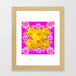 Colorful Fuchsia Pink Roses & Gold Daffodils Framed Art Print