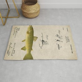 Vintage Brown Trout Fly Fishing Lure Patent Game Fish Identification Chart Rug
