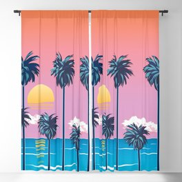 Palms with Pink Sky Blackout Curtain