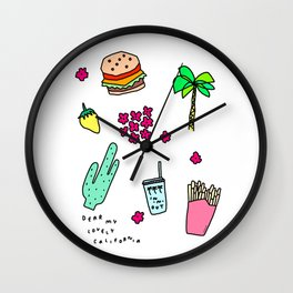 Dear My Lovely California - Burger Cactus Palm Tree Tropical Pattern Wall Clock