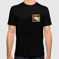 Grunge sticker of United Arab Emirates flag Black Mens Fitted Tee MEDIUM