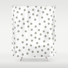 Simply Dots in Retro Gray on White Shower Curtain