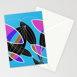 4 colors Organic objects on Blue - White Lines Stationery Cards