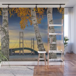 Autumn Birch Trees in Mackinaw City by the Mackinac Bridge Wall Mural