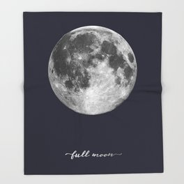 Full Moon on Navy English Throw Blanket