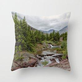 Upper Redrock Falls - Glacier NP Throw Pillow