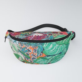 Jungle of Houseplants and Flowers on Bright Coral Pink with Wild Cats Fanny Pack