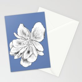 Sketchy Malva Flower Drawing (indigo back) Stationery Cards