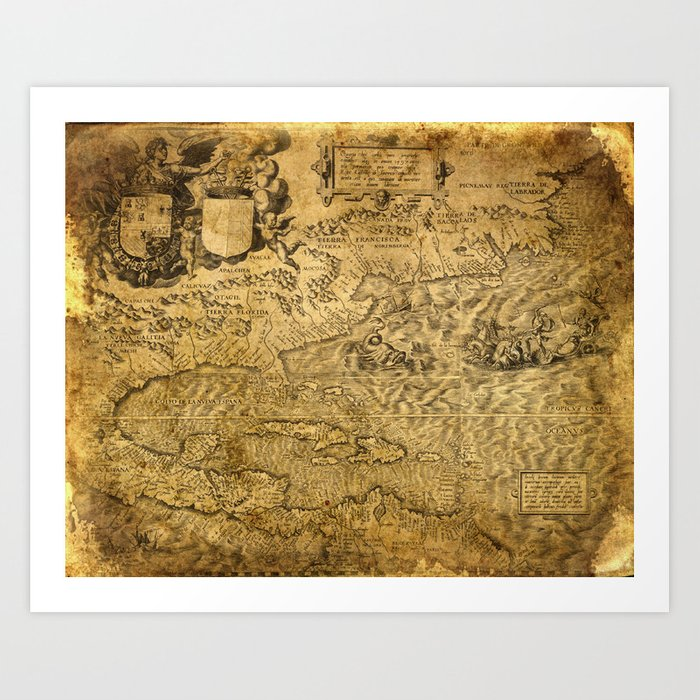 Old Map 4 Us Art Print By Vectoriadesigns Society6 - Old-map-of-us