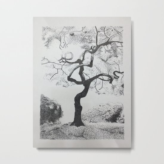 Pen and Ink Tree Metal Print