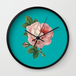 Pink Flower on Teal Wall Clock