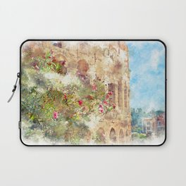 blooming rhododendron on a background of Colosseum Laptop Sleeve