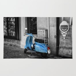 Blue Vespa in Venice Black and White Color Splash Photography Rug