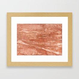 Dark salmon streaked wash drawing background Framed Art Print
