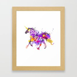 Big Sister Unicorn T-Shirt - Unicorn Graphic Tee Framed Art Print