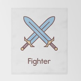 Cute Dungeons and Dragons Fighter class Throw Blanket